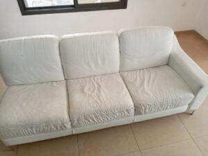 ניקוי ספה צבע לבן עם כתמי שתן
