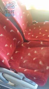 ניקוי ריפודים צבע אדום באוטובוס 50 מקומות