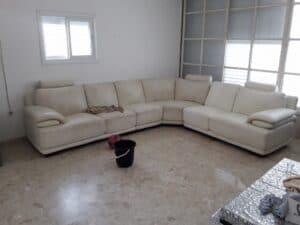ניקוי ספה פינתית גדולה בשכונת נווה שאנן בחיפה