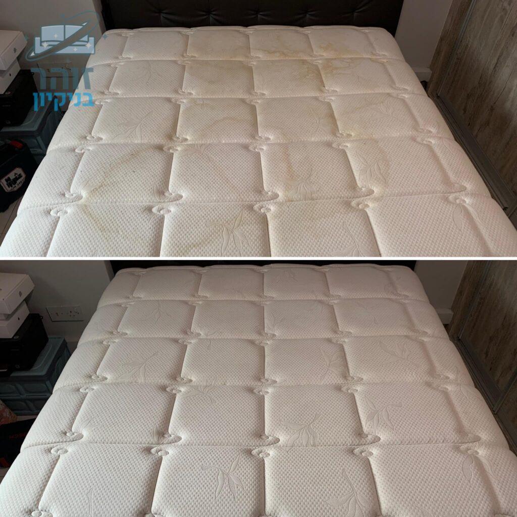 לפני ואחרי ניקוי לניקוי מזרון מיטה וחצי עם כתמים של שתן וריח חריף של חיית מחמד כולל ריח נעים ומרענן בחולון