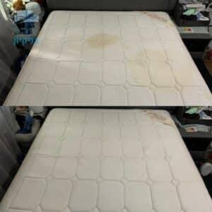 ניקוי מזרונים בתוך יחידת דיור בחולון - לפני ואחרי כתמים של שתן של תינוק ושומן גוף