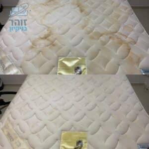 לפני ואחרי ניקוי מיזרון מיטה וחצי מכתמי שתן ושתייה בבית פרטי בכפר סבא