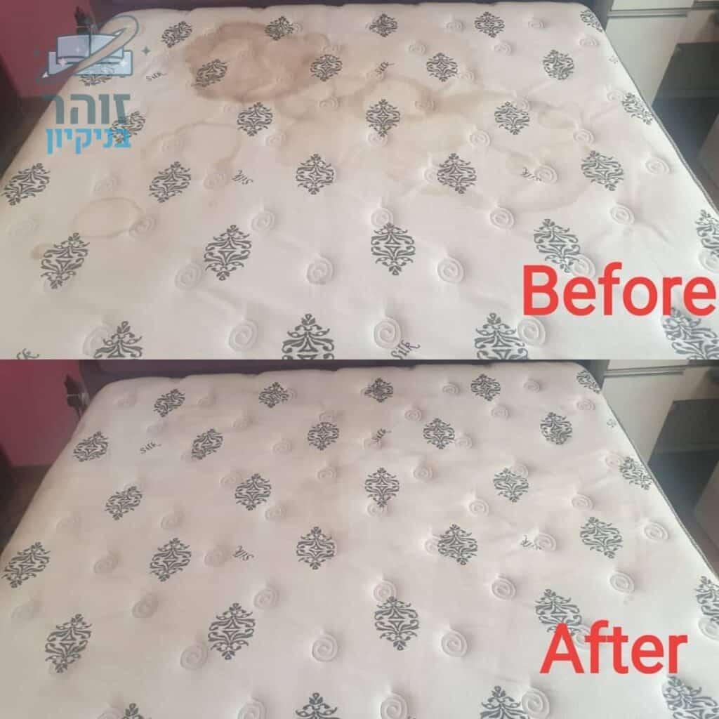 לפני ואחרי ניקוי מיזרון זוגי מכתמי צואה קיא ושתייה בבית פרטי בקריות