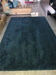 ניקוי שטיח פרוותי בצבע פטרול בסלון בדירה ברמת גן