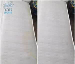ניקוי מזרון יחיד לפני ואחרי מכתמים צהובים של פיפי