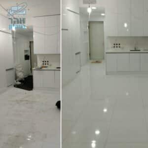 דירה אחרי בניה בתהליך ניקיון מאסיבי כולל מטבח שירותים ומקלחת
