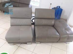 ביצוע ניקוי ספה מעור לאחר כתמים של קפה וזיעת גוף שומני בשכונת נאות אשכול בעיר יבנה